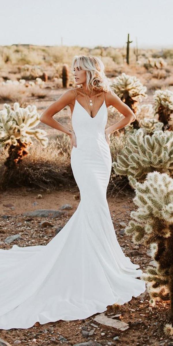 mermaid wedding dresses with spaghetti straps simple for beach lovers society