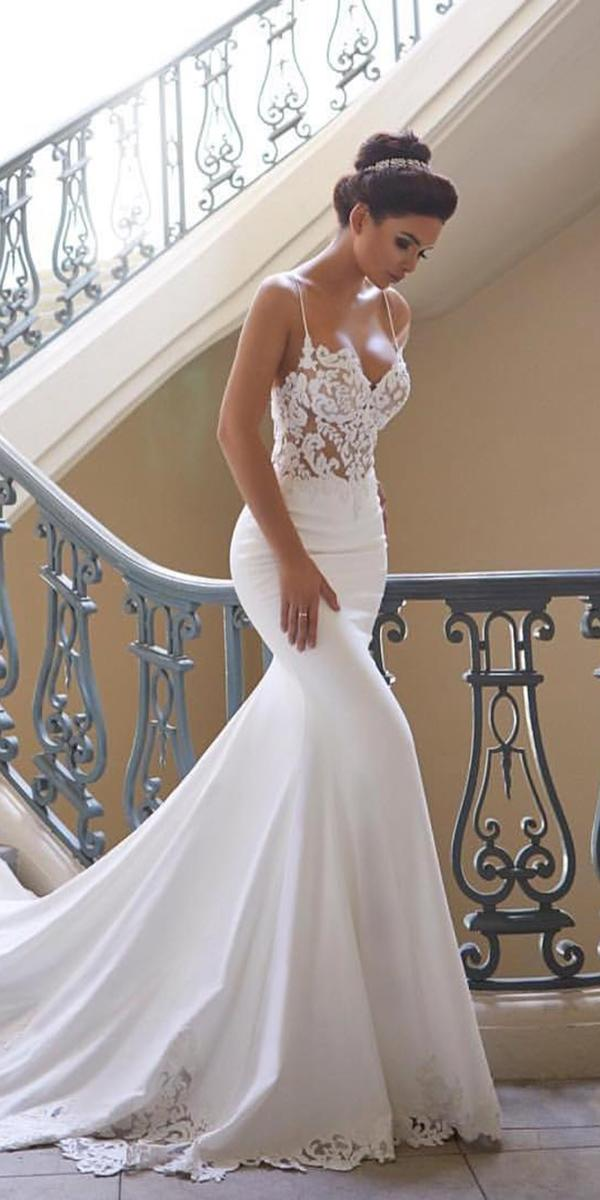 mermaid wedding dresses with spaghetti straps sweetheart sexy lace train blush bridal lounge