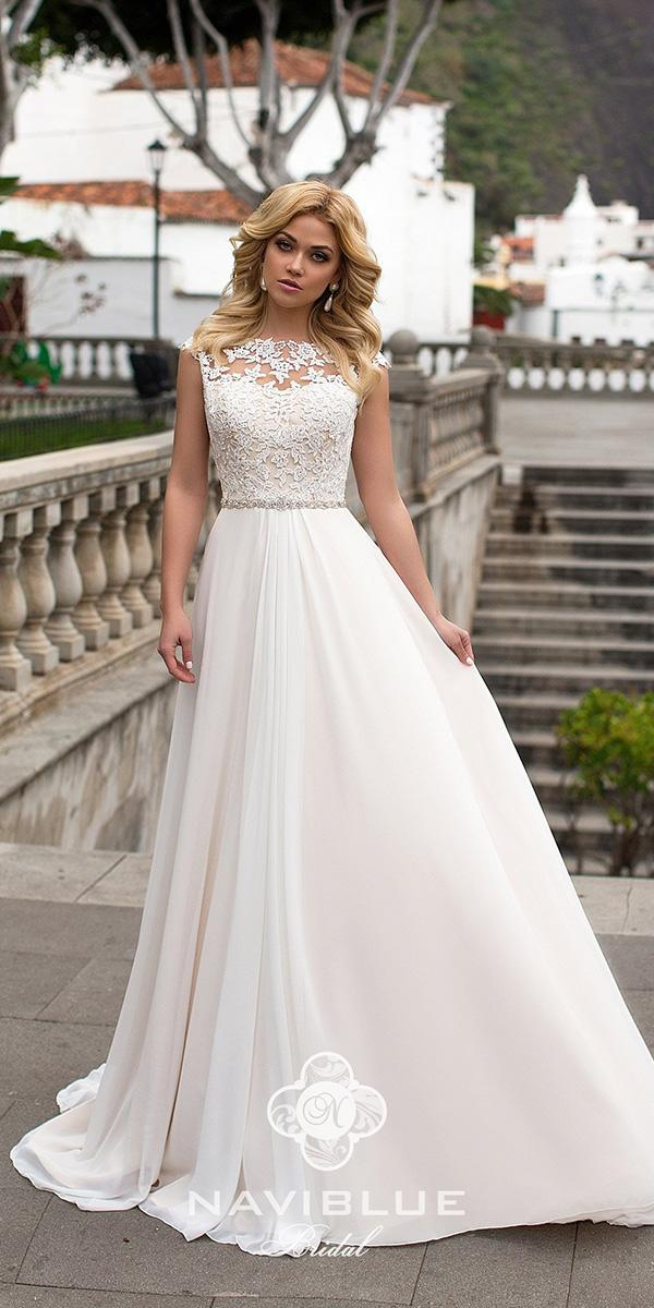 naviblue bridal wedding dresses a line lace top with cap sleeves 2018