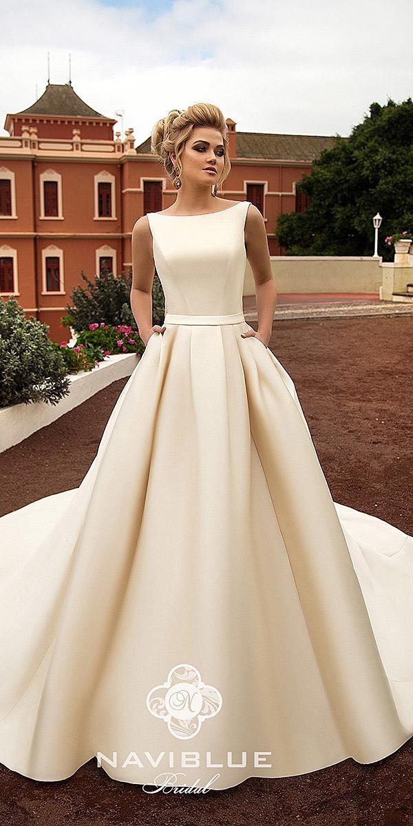 naviblue bridal wedding dresses a line simple champagne 2018