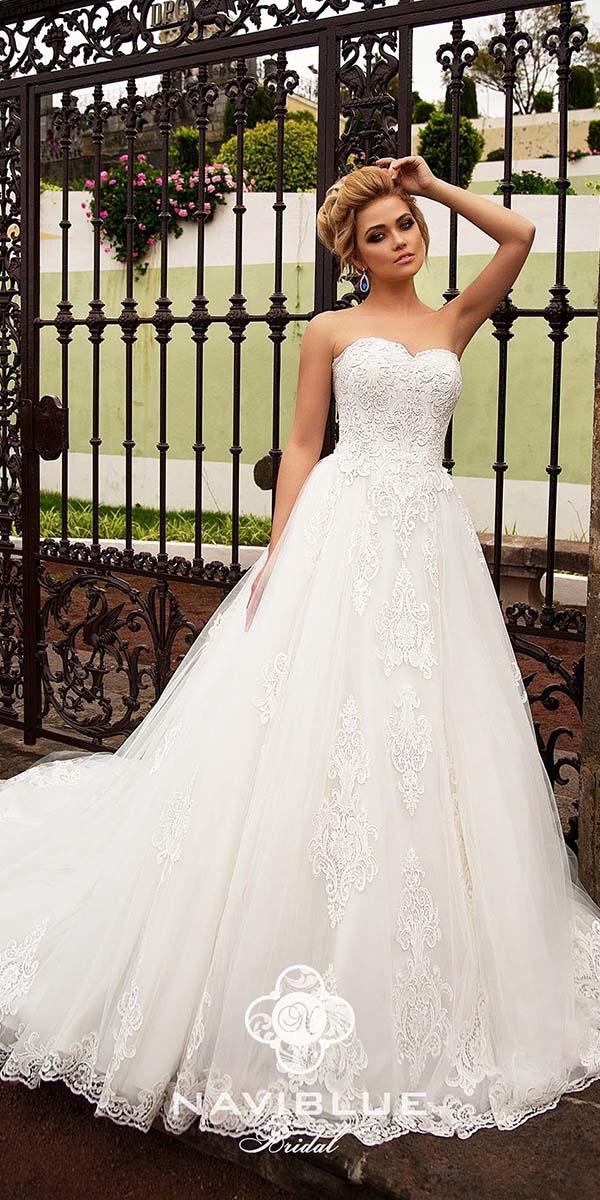 naviblue bridal wedding dresses a line sweetheart lace 2018