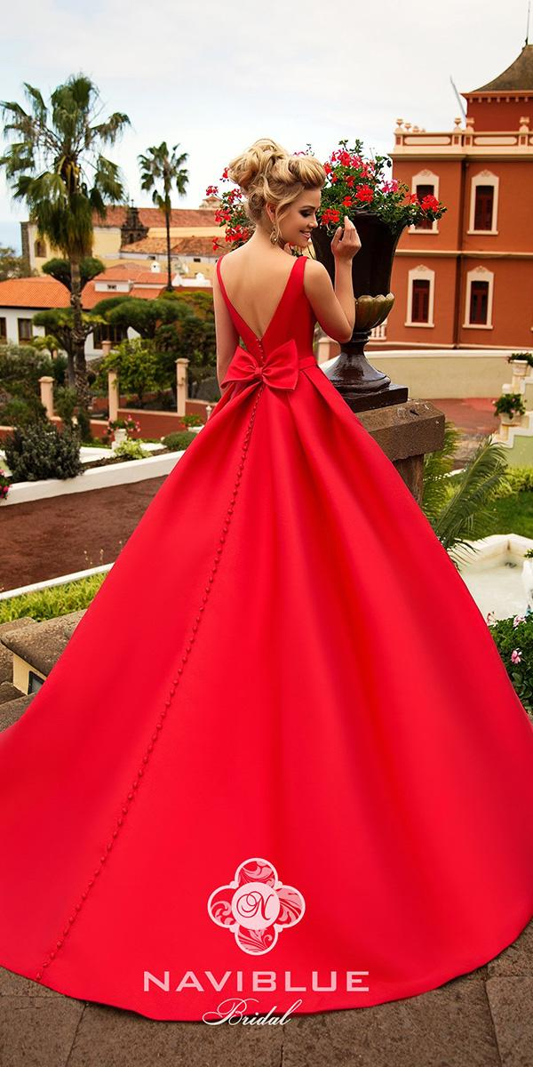 naviblue bridal wedding dresses a line v back with bow red colored