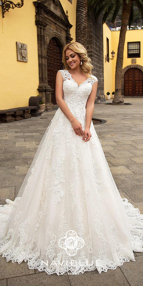 naviblue bridal wedding dresses a line v neckline full lace 2018