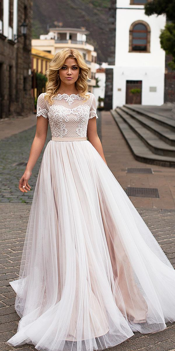 naviblue bridal wedding dresses a line with cap sleeves lace top 2018