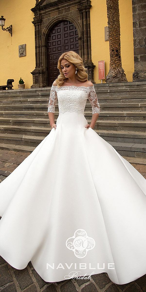 naviblue bridal wedding dresses a line with three quote sleeves off the shoulder lace 2018