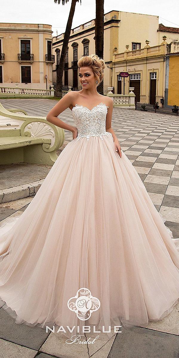 naviblue bridal wedding dresses ball gown sweetheart lace top blush
