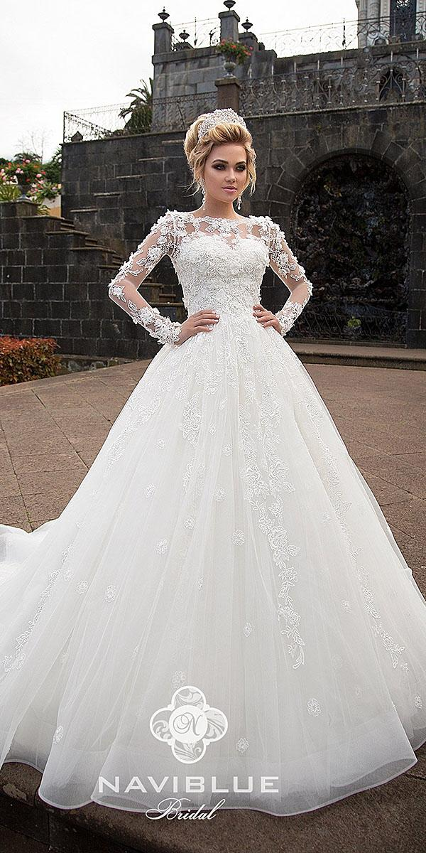 naviblue bridal wedding dresses ball gown with long sleeves floral appliques sweetheart romantic