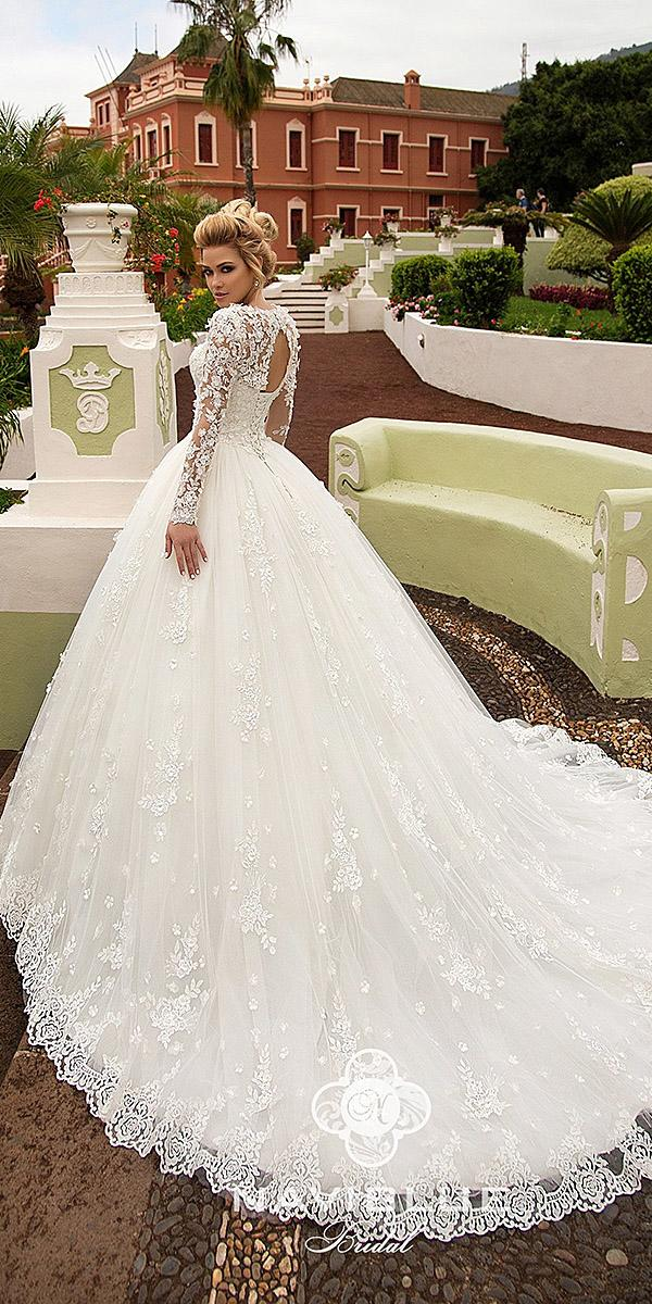 naviblue bridal wedding dresses ball gown with long sleeves floral open back