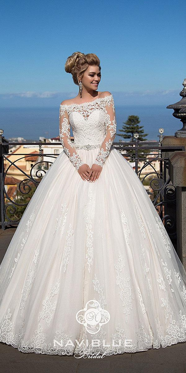 naviblue bridal wedding dresses ball gown with long sleeves lace full lace sweetheart