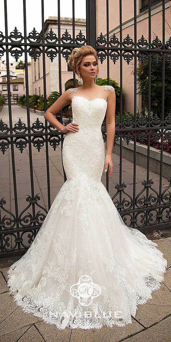 naviblue bridal wedding dresses mermaid sweetheart illusion neckline lace 2018
