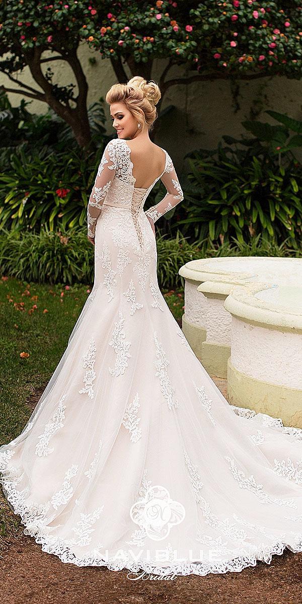 naviblue bridal wedding dresses mermaid with long sleeves full lace 2018 romantic