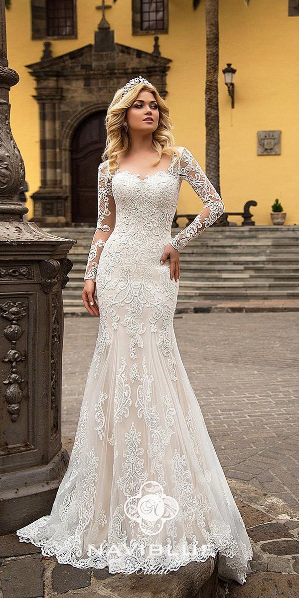 naviblue bridal wedding dresses mermai with long sleeves lace 2018