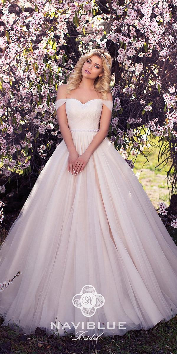 naviblue bridal wedding dresses off the shoulder simple ivory 2018