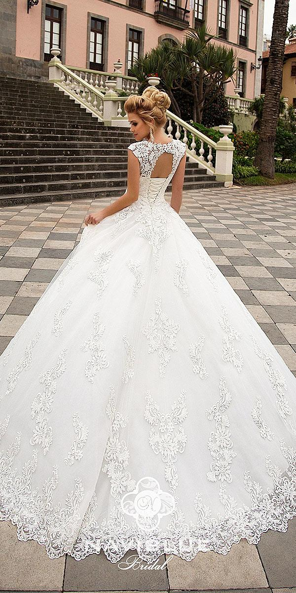 naviblue bridal wedding dresses open back lace with cap sleeves 2018