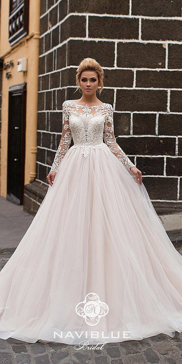naviblue bridal wedding dresses princess with long illusio sleeves lace embellishment