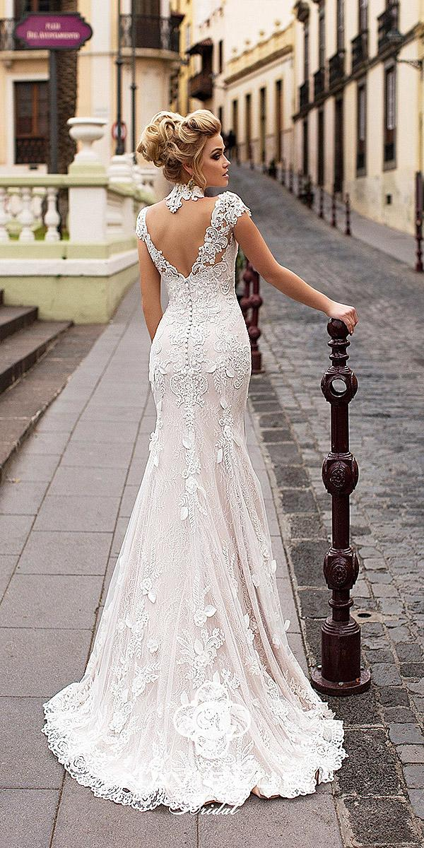 bridal wedding dresses sheath with cap sleeves lace back high neck