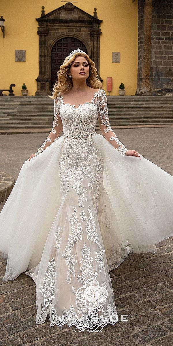 naviblue bridal wedding dresses sheath with long sleeves sweetheart lace overskirt ivory