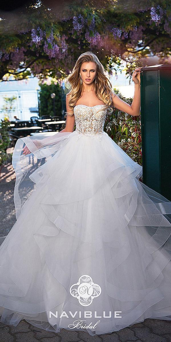 naviblue bridal wedding dresses sweetheart strapless ruffled skirt 2018
