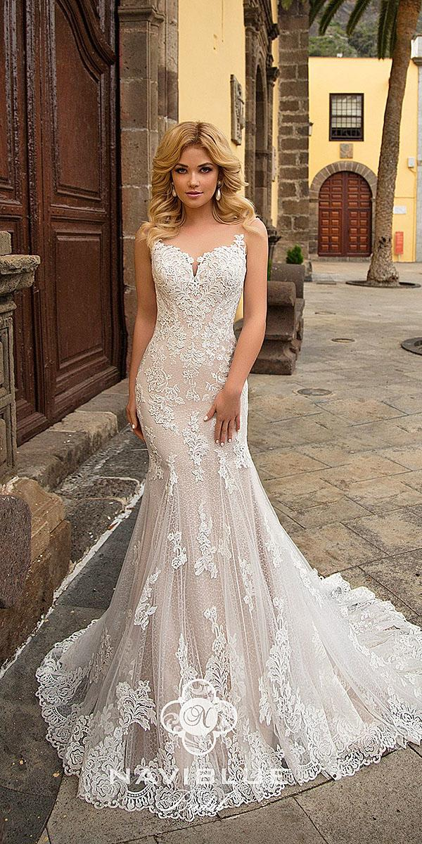naviblue bridal wedding dresses trumpet sweetheart strapless lace blush