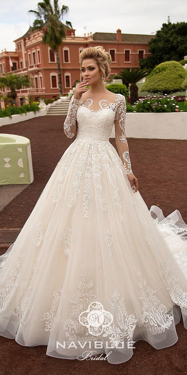 naviblue bridal wedding dresses with long illusion sleeves lace ivory 2018