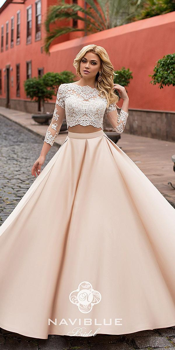 naviblue bridal wedding dresses with sleeves lace top colored 2018