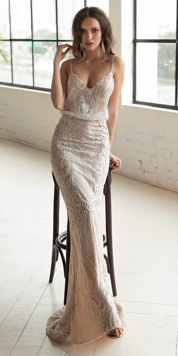 nude sheath lace sweetheart neck spaghetti straps julie vino 2019 wedding dresses