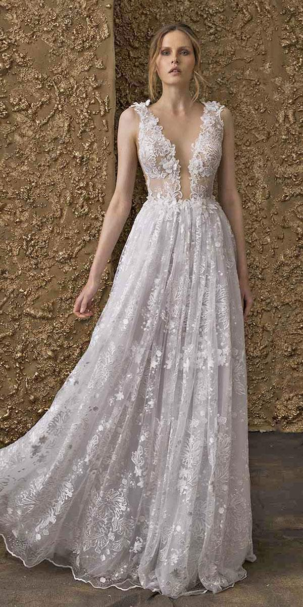 nurit hen wedding dresses 2018 a line deep v neckline full lace sleeveless