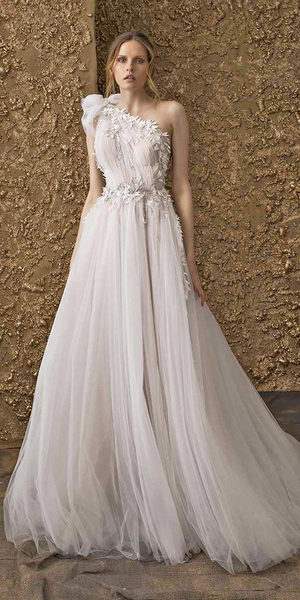 nurit hen wedding dresses 2018 a line one shoulder floral tulle skirt