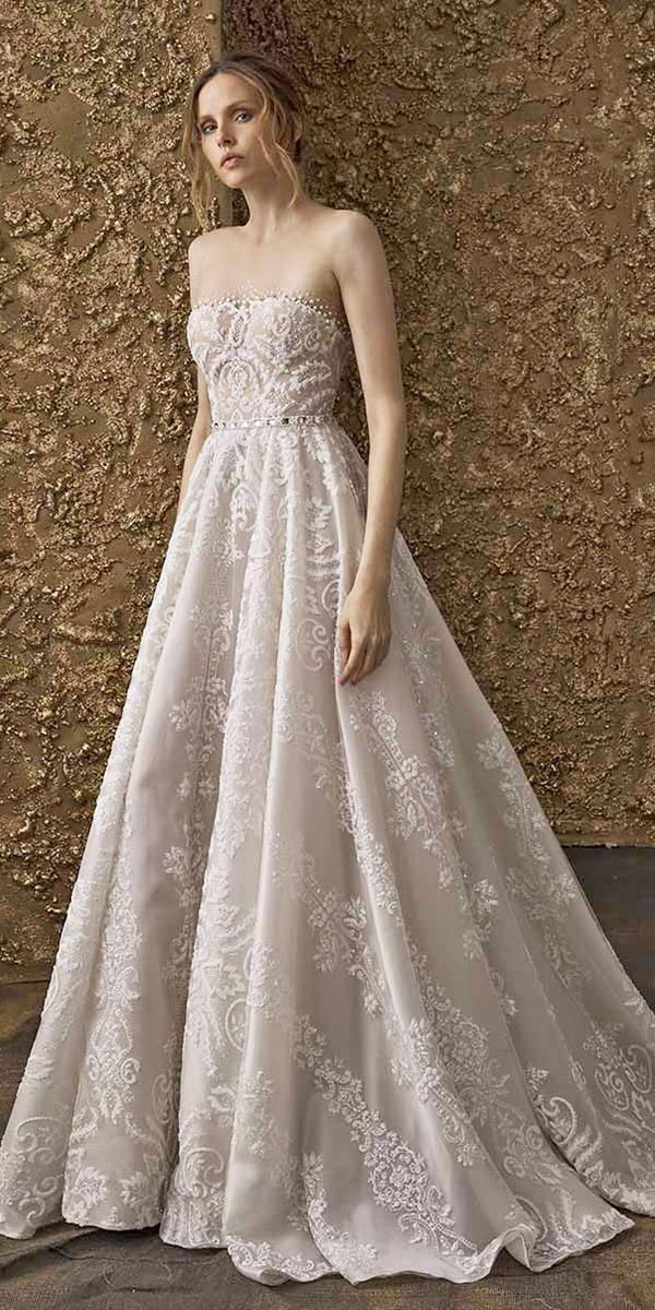 nurit hen wedding dresses 2018 a line straight across full lace beaded belt
