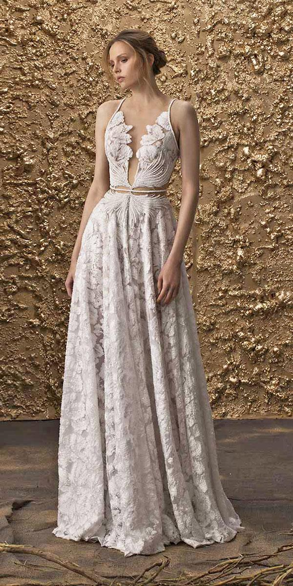 nurit hen wedding dresses 2018 a line with straps floral lace embellishment