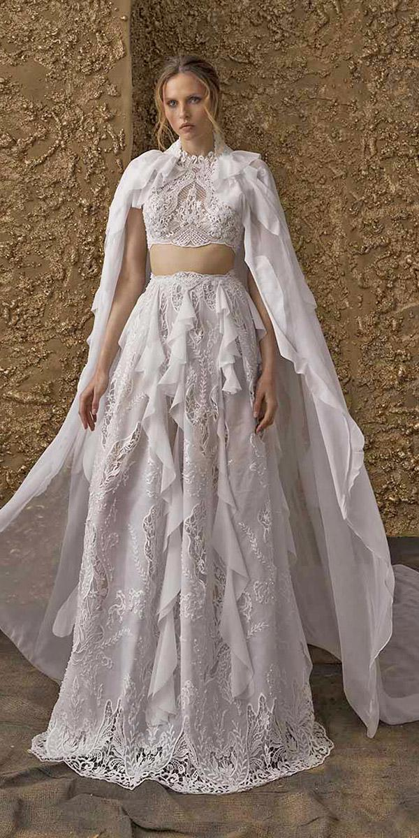 nurit hen wedding dresses 2018 detached top full lace with capes ruffled skirt modern