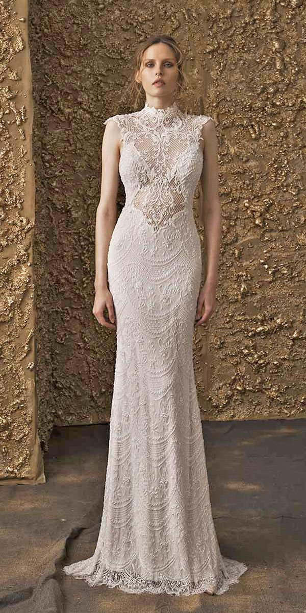 nurit hen wedding dresses 2018 sheath high neck with cap sleeves lace