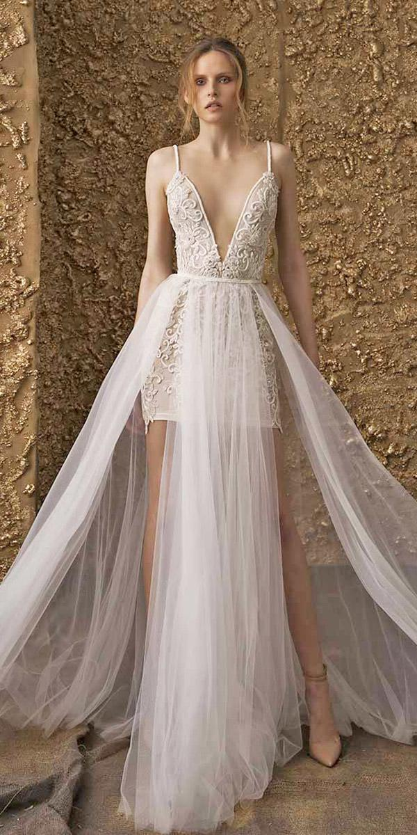 nurit hen wedding dresses 2018 short with spaghetti straps plunging neckline overskirt sexy
