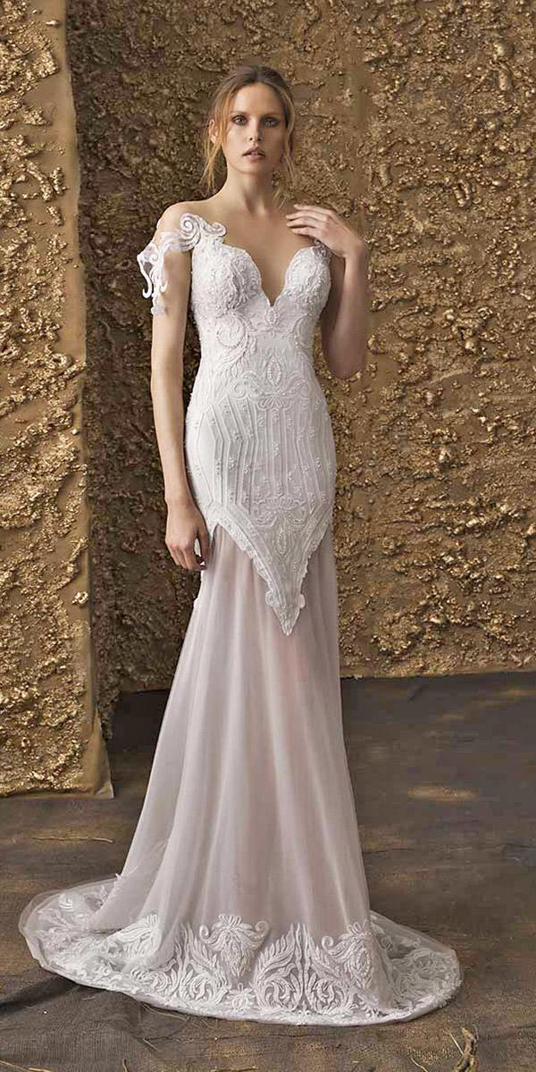 nurit hen wedding dresses 2018 trumpet illusion neckline sweetheart lace unique