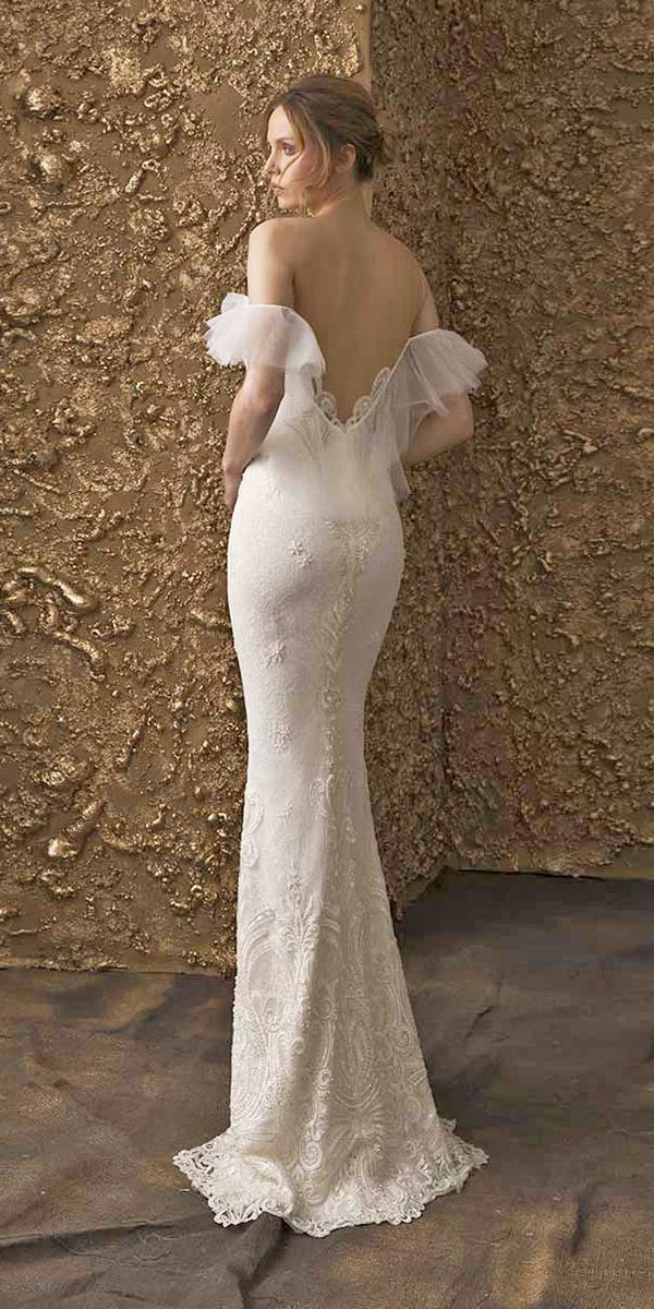nurit hen wedding dresses 2018 trumpet low back off the shoulder lace