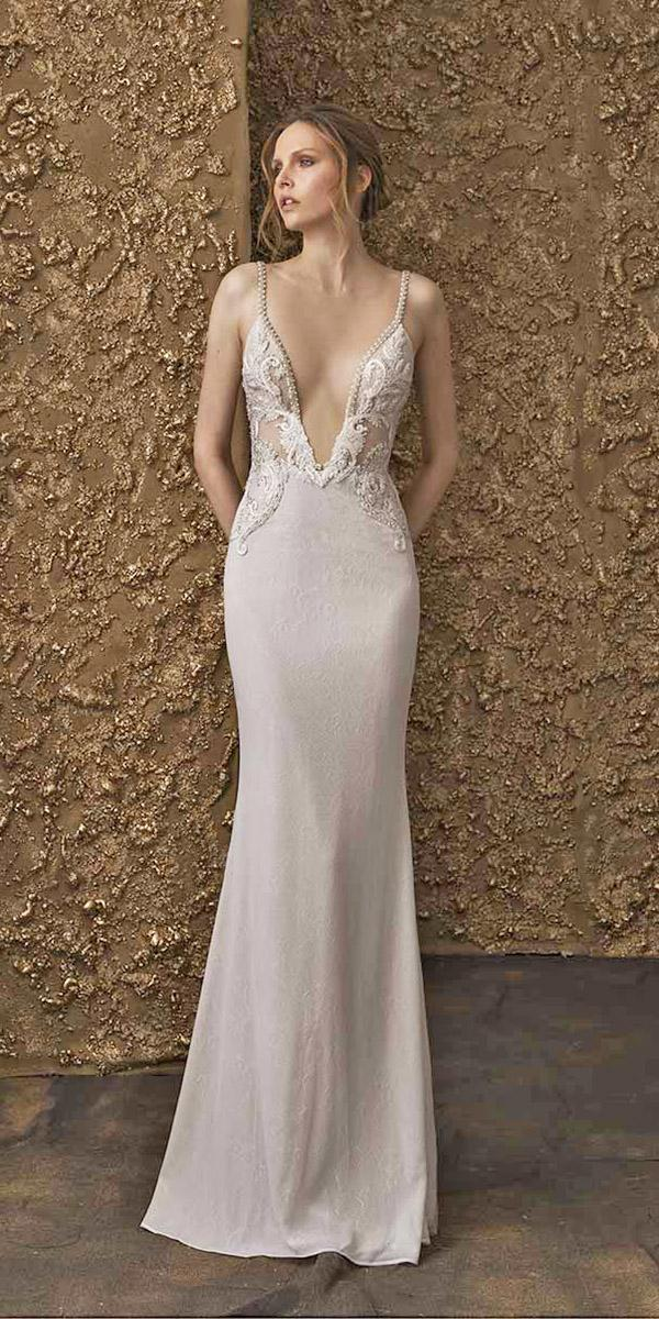 nurit hen wedding dresses 2018 with straps deep v neckline sexy