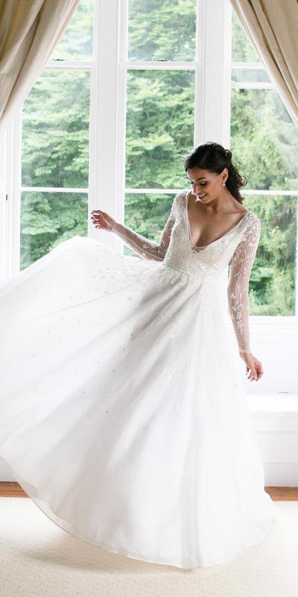 rebecca schoneveld wedding dresses v neckline with long sleeves 2018