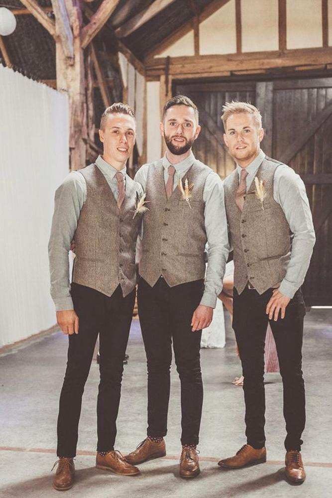 rustic groomsmen attire brown waistcoat with tie michelle lindsell