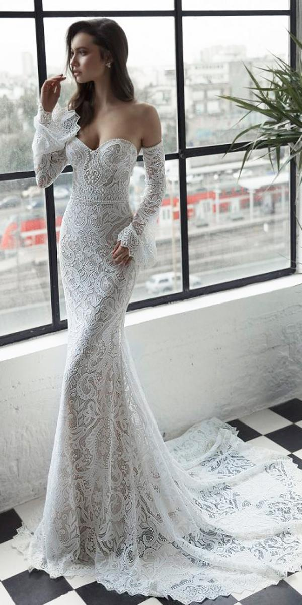 sheath lace strapless sweetheart neck with detached sleeves julie vino 2019 wedding dresses