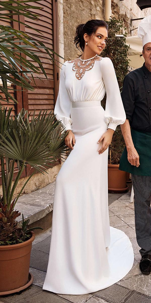 sheath with long sleeves modest floral embellishment 2019 innocentia wedding dresses