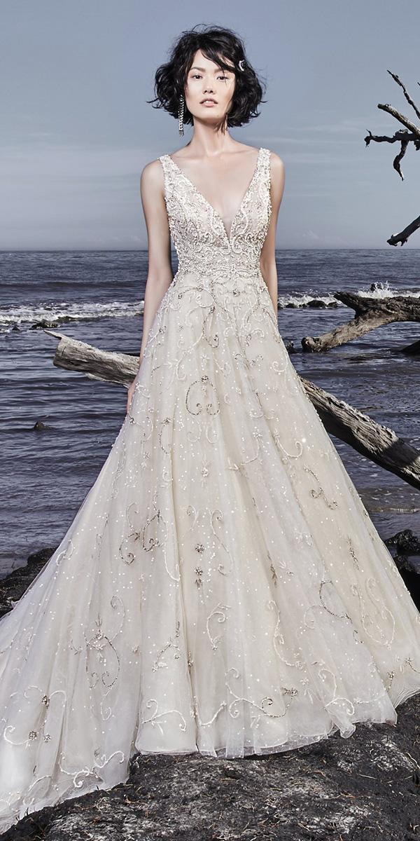 sottero and midgley wedding dresses a line deep v neckline ivory sequin tulle