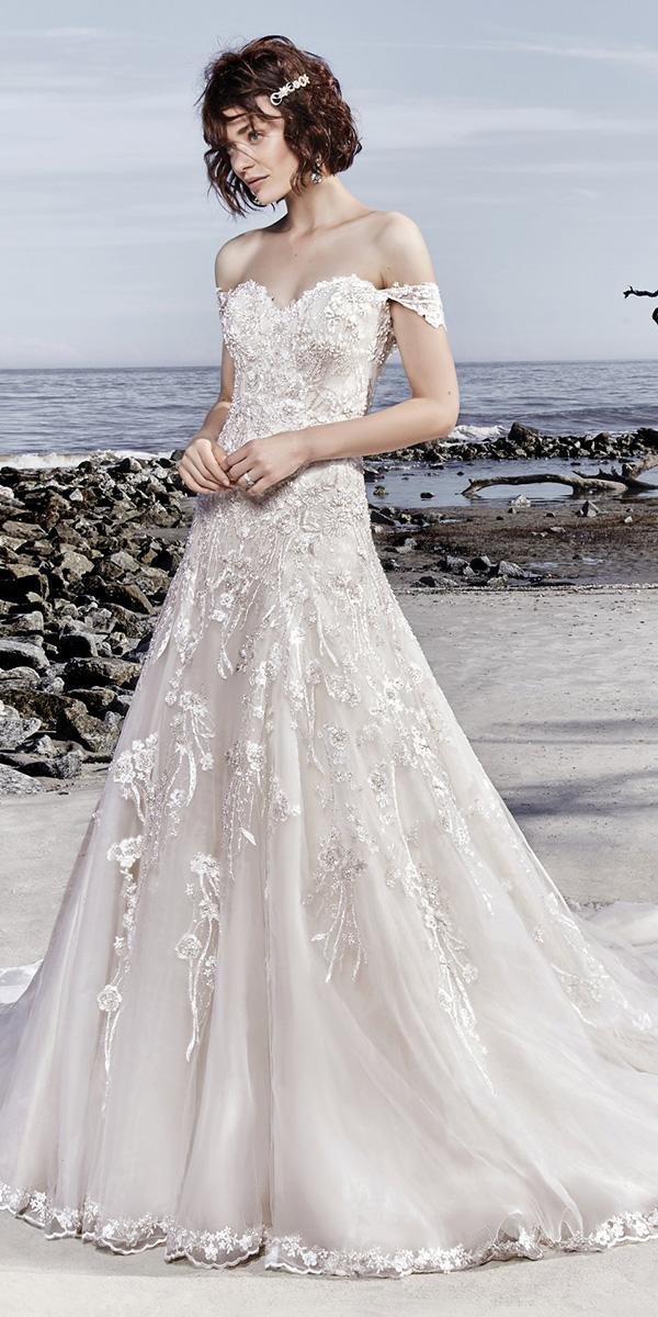 sottero and midgley wedding dresses a line off the shoulder strapless sweetheart neckline