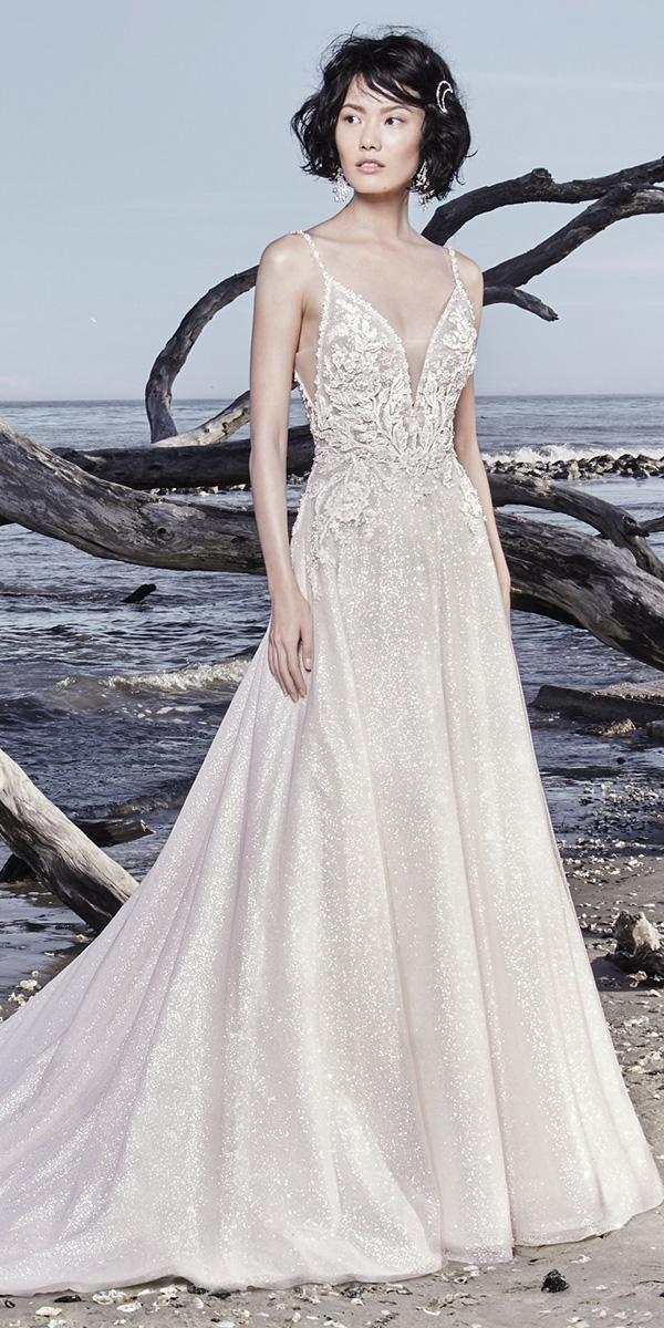 sottero and midgley wedding dresses a line with spaghetti straps deep v neckline sparkle tulle