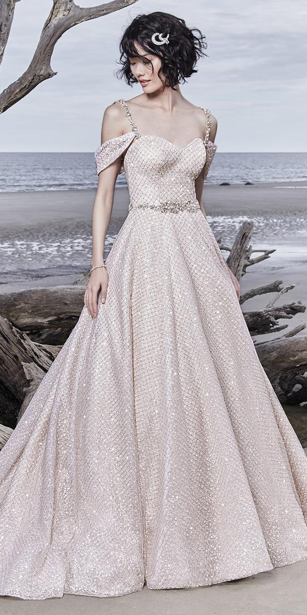 sottero and midgley wedding dresses ball gown with straps off the shoulder rose gold sequin tulle