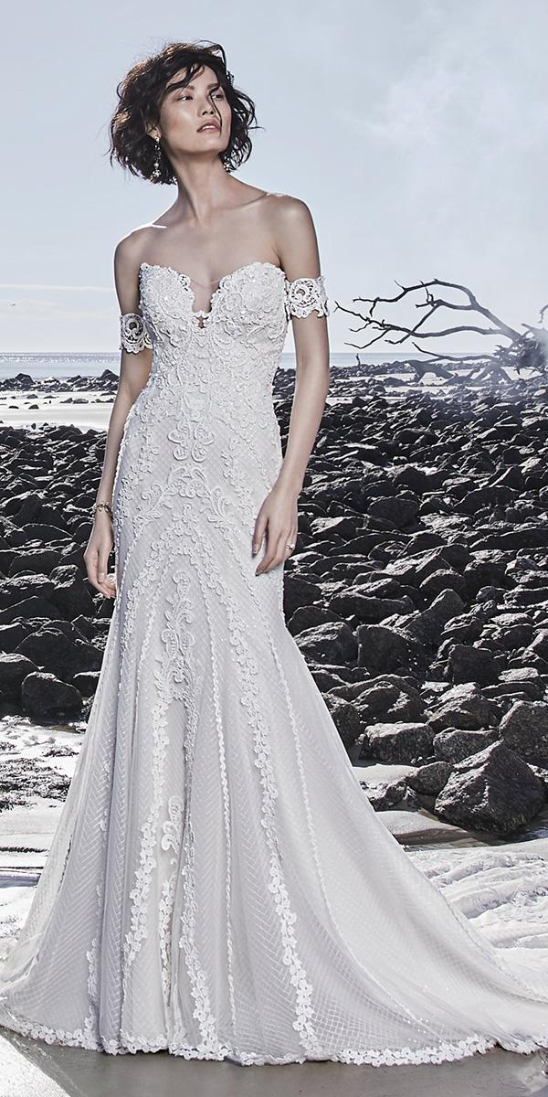 sottero and midgley wedding dresses fit and flare off the shoulder lace sweetheart neckline