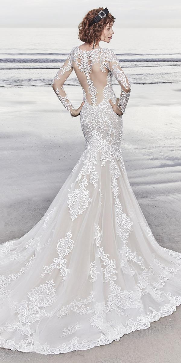sottero and midgley wedding dresses fit and flare with long illusion sleeves tattoo effect back buttons