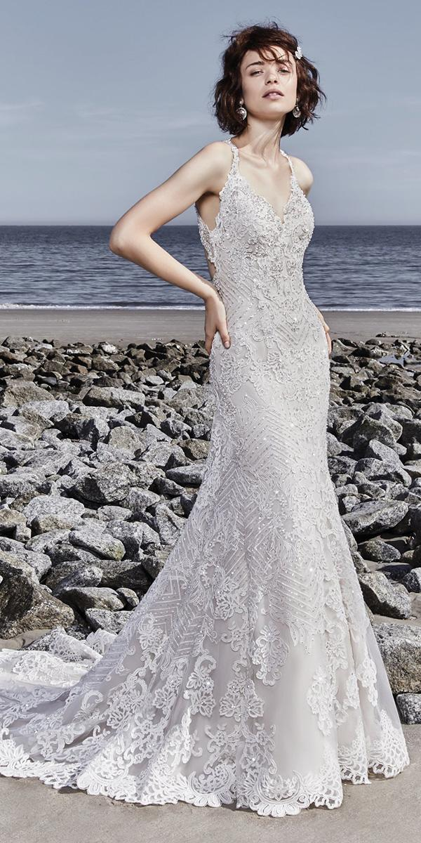 sottero and midgley wedding dresses sheath beach with straps lace embellishment v neckline