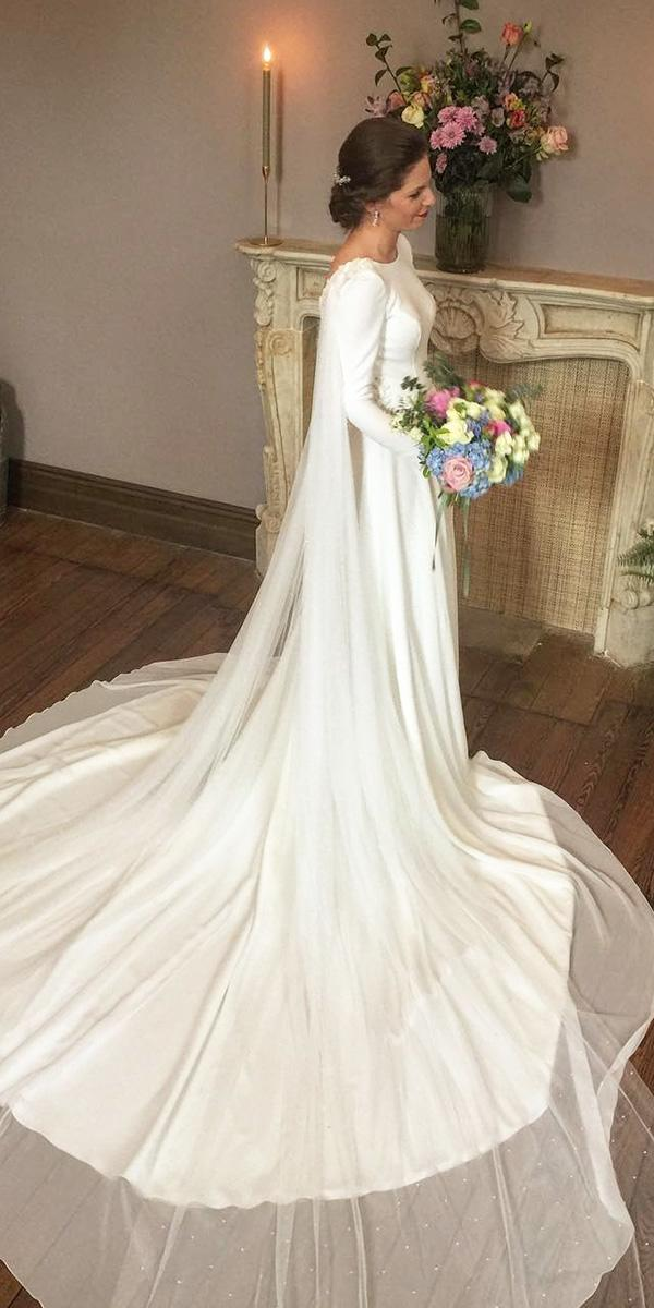 vintage wedding dresses with sleeves a line modest nicolas costura