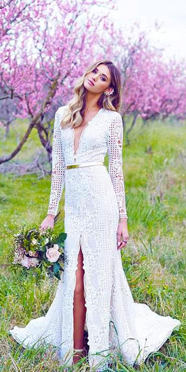 vintage wedding dresses with sleeves deep v neckline slit country featured