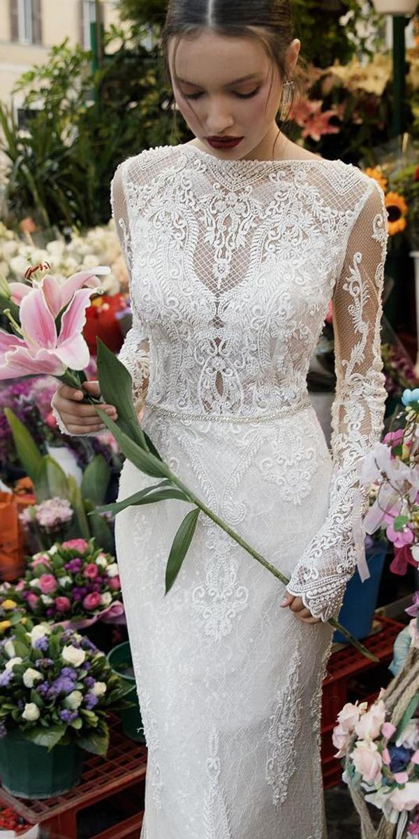 vintage wedding dresses with sleeves illusion neckline full lace birenzweig